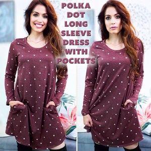 Polka Dot Long Sleeve Dress with Pockets